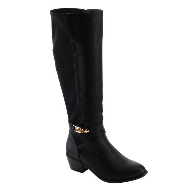 Nature Breeze FE35 Women's Faux Leather Knee-high Buckle-strap Block-heel Boots