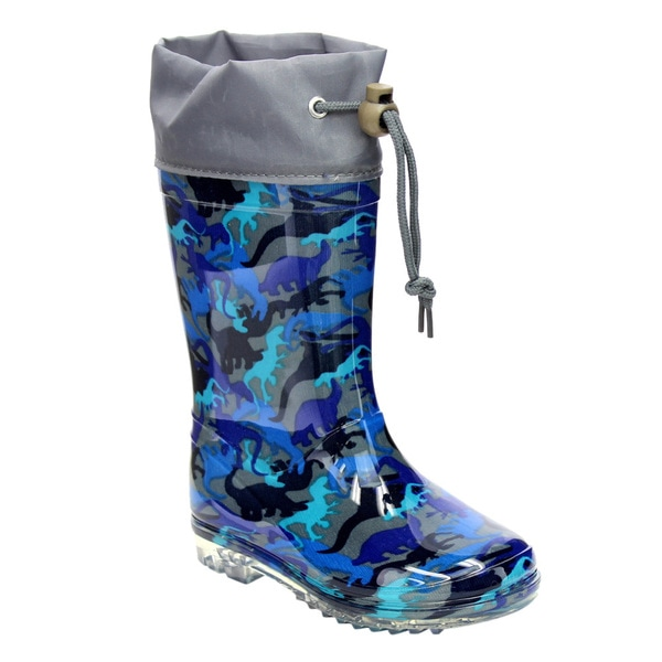 Jelly Beans Blue Dinosaur Camouflage Low-heel Rubber Rain Boots