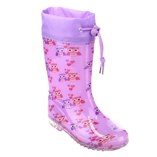 Jelly Beans Girls' GE77 Purple Bungee-tie Owl-pattern Mid-calf Low-heel Rain Boots