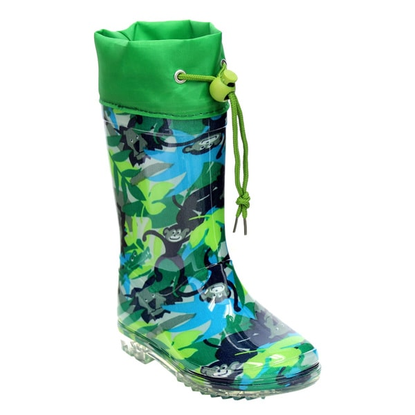Jelly Beans GE75 Children's Monkey Print Rubber Bungee-tied Rain Boots With Clear Soles