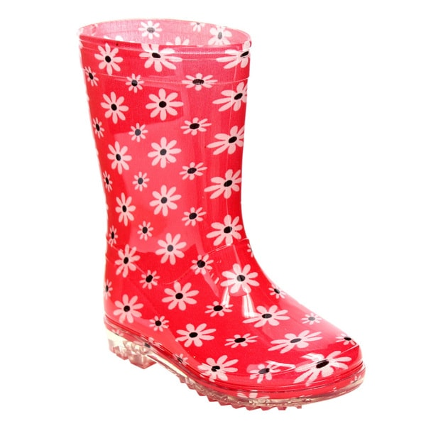 Jelly Beans GE74 Toddler Girls' Pull-on Floral Pattern Clear Heel Rainy Boots