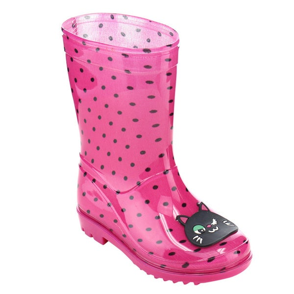 Jelly Beans Toddler Girls' GE68 Pink PVC Kitty Dots Pull-on Mid-calf Rain Boots