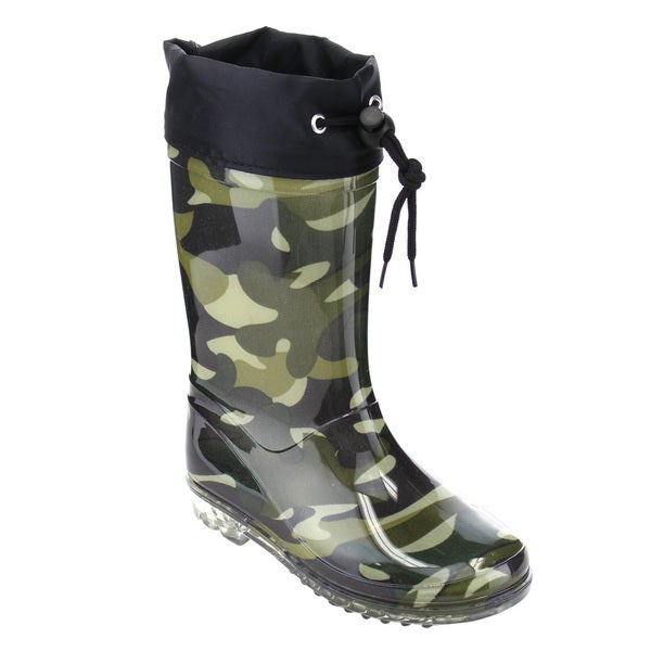 Jelly Beans GE66 Unisex Boys Girls Camouflage Pattern Bungee Tie Rain Boot