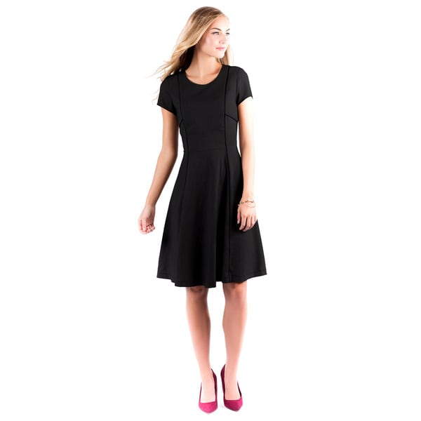 DownEast Basics Women's Rendez-Vous Black Poly-blend Dress