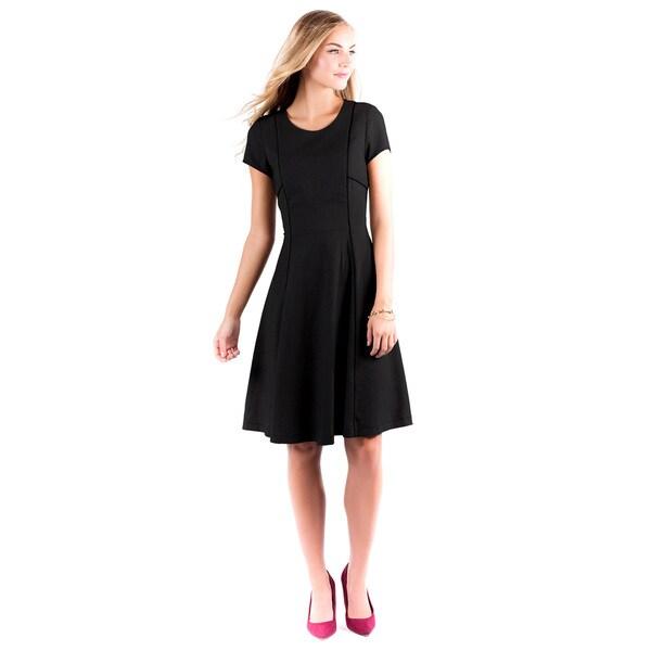 DownEast Basics Women's Rendez-Vous Black Poly-blend Dress