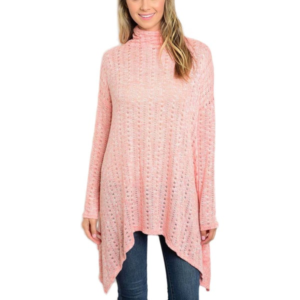 JED Women's Knitted Pink Polyester/Spandex Turtleneck Sweater Trapeze Tunic