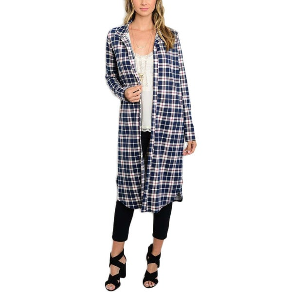 JED Women's Plaid Polyester Long Button Down Overshirt