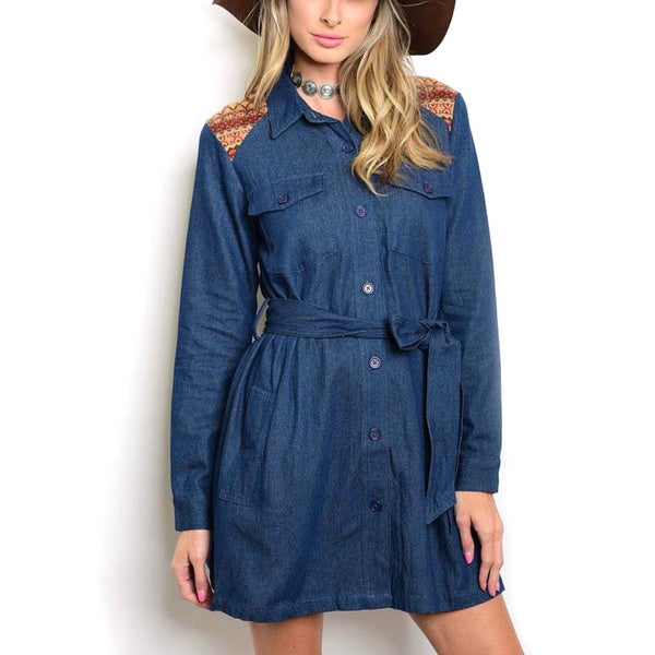 JED Women's Dark Blue Denim Cotton Button-down Long-sleeve Shirt Dress