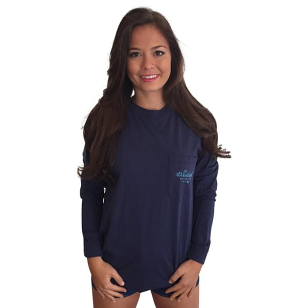 Monograms are Happiness Women's Navy Cotton Long-sleeve Pocket T-shirt