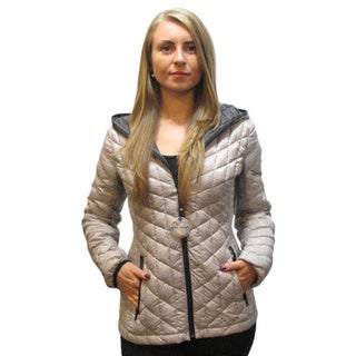 Halifax Women's Light Grey Down-filled packable Hooded Jacket