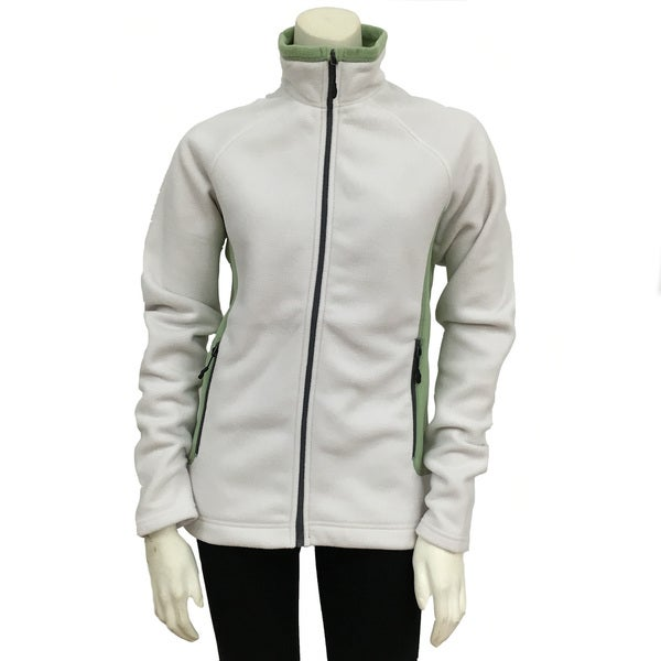 Narragansett Traders Women's White/Green Fleece Full-zip Medium-weight Contrast Jacket