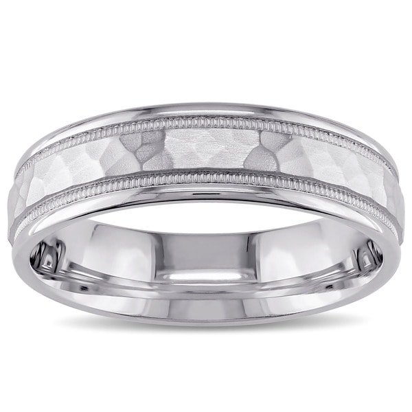 Men's Wedding Band in 14k White Gold by The Miadora Signature Collection
