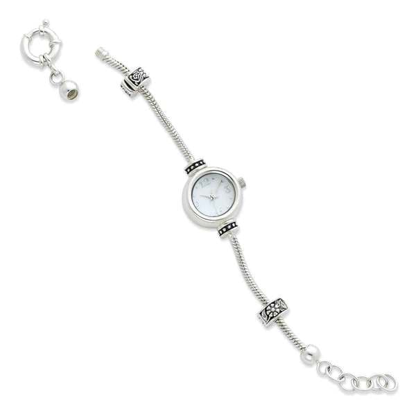 Sterling Silver Round Face Reflections Watch Starter Bracelet