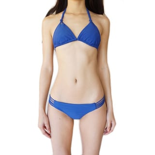 Blue Polyester Two-piece Swimsuit Set