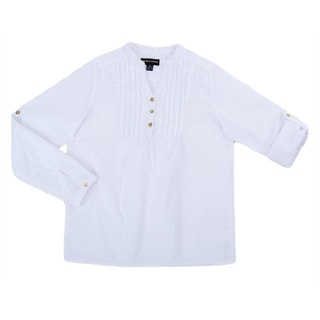 French Toast Girls White Cotton Long-sleeve Pin-tuck Shirt
