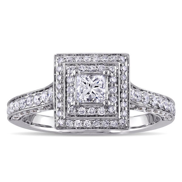 1-1/4ct TDW Princess and Round Diamond Square Double Halo Engagement Ring in 14k White Gold by The M 20773085