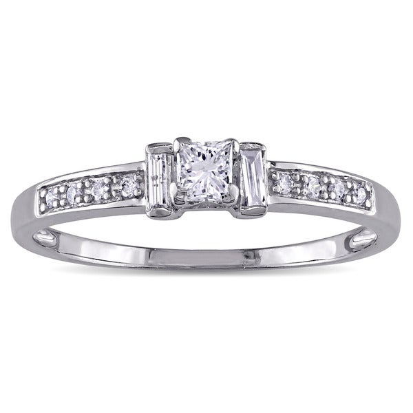 3/8ct TDW Princess and Parallel Baguette-Cut Diamond 3-Stone Engagement Ring in 14k White Gold