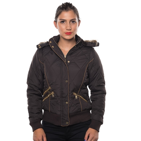 Ladies Polyester Faux-fur-lined Hooded Jacket with Detachable Hood and Sleeve, Suede Piping, and 2 Front Zipper Pockets