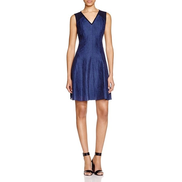 T Tahari Brooke Blue Cotton/Nylon V-neck Dress