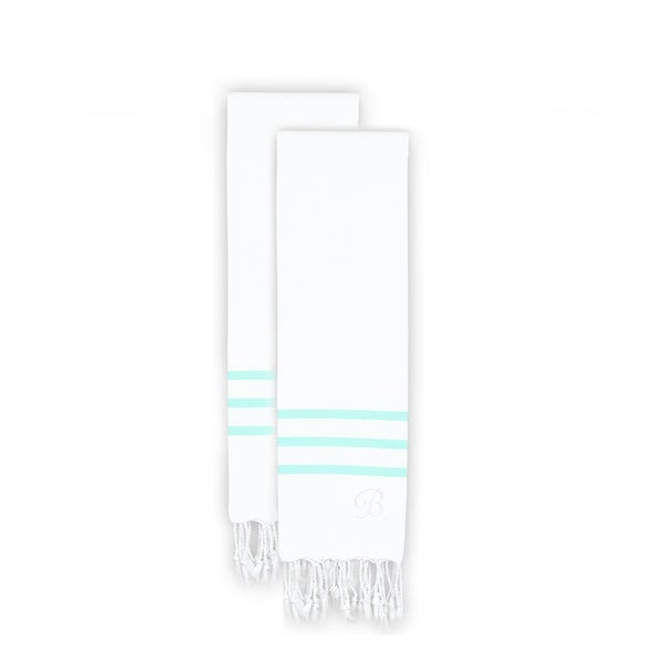 Authentic Ella White with Soft Aqua Stripes Monogrammed Pestemal Fouta Turkish Cotton Hand Towel (Set of 2)