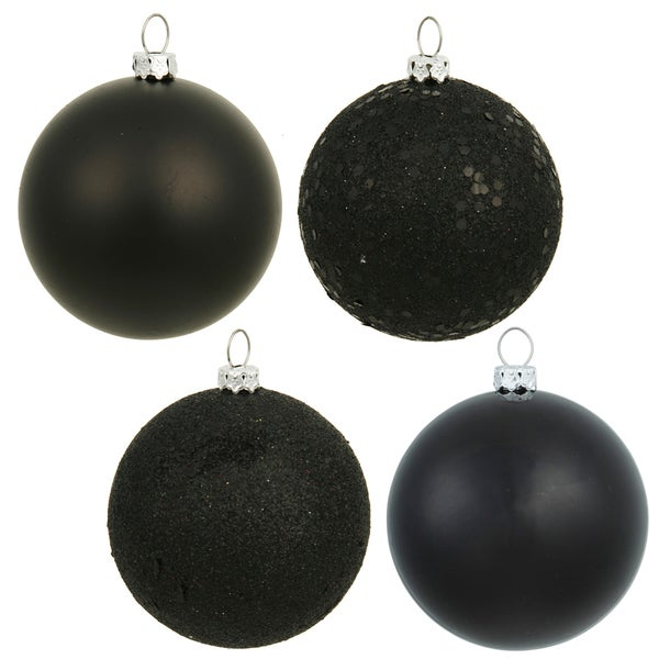 Black Plastic 2.4-inch 4-finish Assorted Ornaments (Case of 24) 20780019