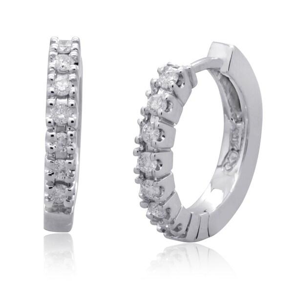 10k White Gold 1/4ct TDW Round Diamond Hoop Earrings (H-I, I3)