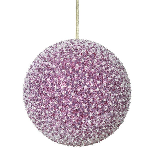 Cerise Acrylic 10-inch Beaded Ball Ornament