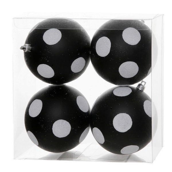 Black/White Plastic 4-inch Polka Dot Glitter Ball Ornaments (Pack of 4)