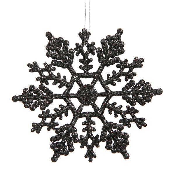4-inch Jet Black Glitter Snowflake Ornament (Case of 24) 20780743