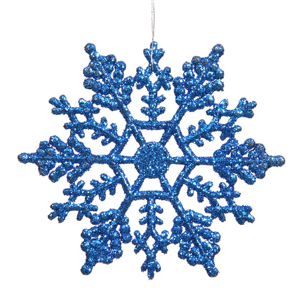 Blue Plastic 4-inch Glitter Snowflake Ornament (Pack of 24)