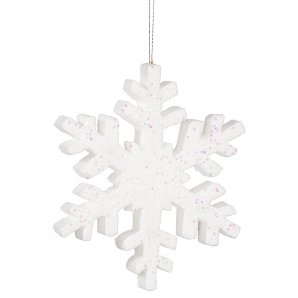 White 8-inch Outdoor Glitter Snowflake Ornament