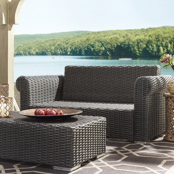Barbados Wicker Outdoor Cushioned Grey Charcoal Loveseat with Rolled Arm iNSPIRE Q Oasis 20781189