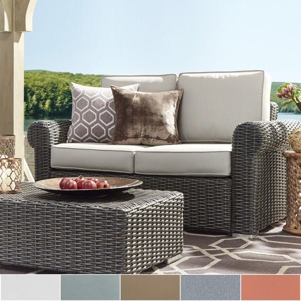 Barbados Wicker Outdoor Cushioned Grey Charcoal Loveseat with Rolled Arm by NAPA LIVING 20781189