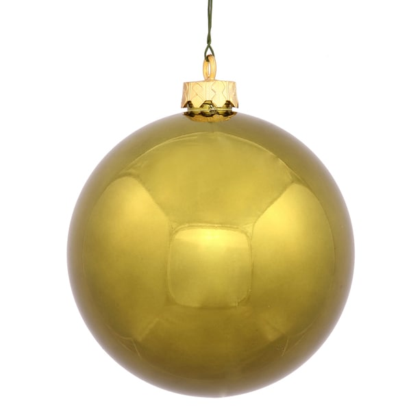 Olive Green Plastic 4.75-inch Shiny Ball Ornament (Pack of 4)