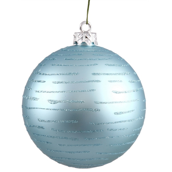 Baby Blue Plastic Ball with Glitter Ornament (Pack of 2)