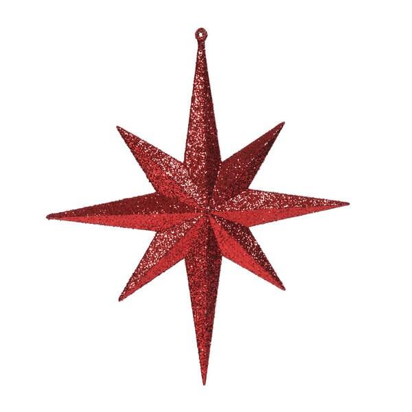 Red 12-inch Glitter Bethlehem Star Ornament (Pack of 2)