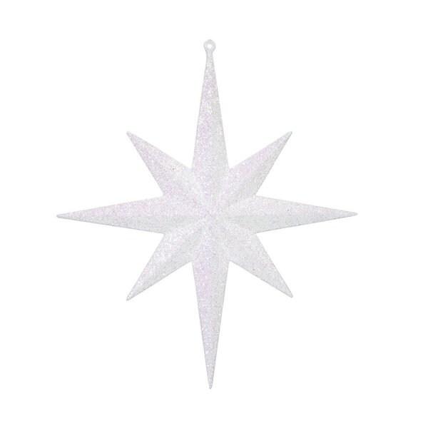 White Glitter 12-inch Bethlehem Star Ornament (Pack of 2)