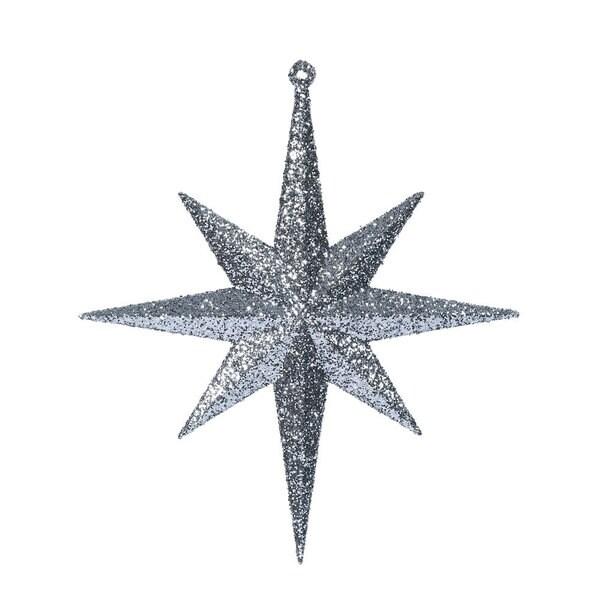 Pewter Glitter 8-inch Bethlehem Star Ornament (Pack of 4)