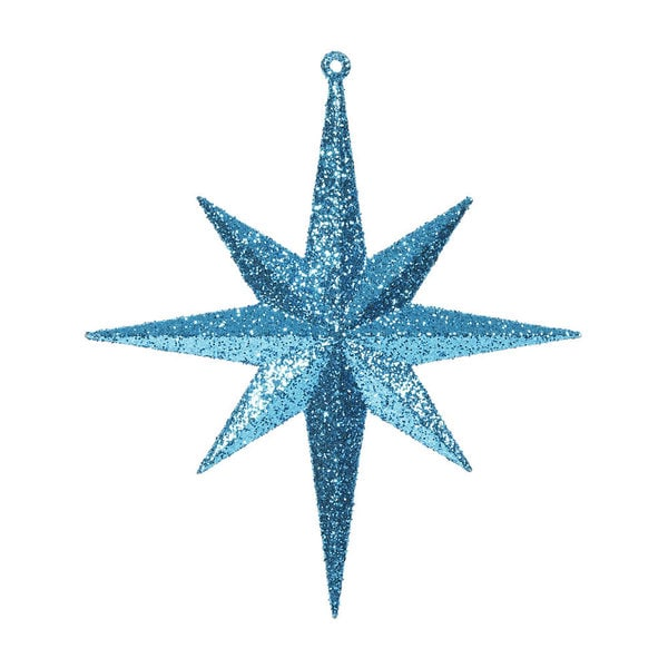 8-inch Teal Glitter Bethlehem Star Ornament (Pack of 4)