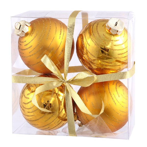 3-inch Antique Gold Glitter Ball Ornament (Pack of 4)