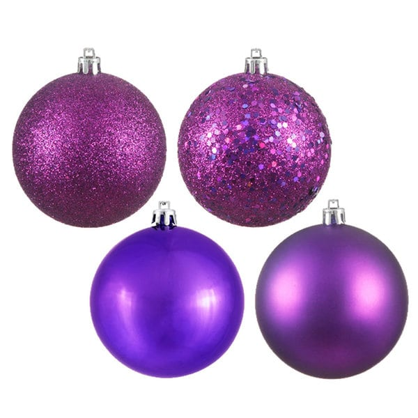 Plum-purple Plastic 4-inch Assorted Ornaments (Pack of 12)