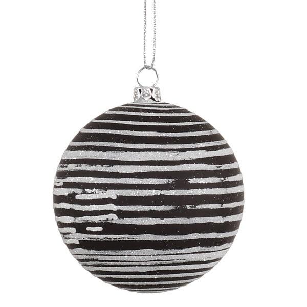 Black 4.75-inch Matte-Glitter Ball Ornament (Pack of 3)