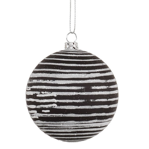 Black Plastic 3-inch Matte/Glitter Ball Ornaments (Pack of 6) 20782869