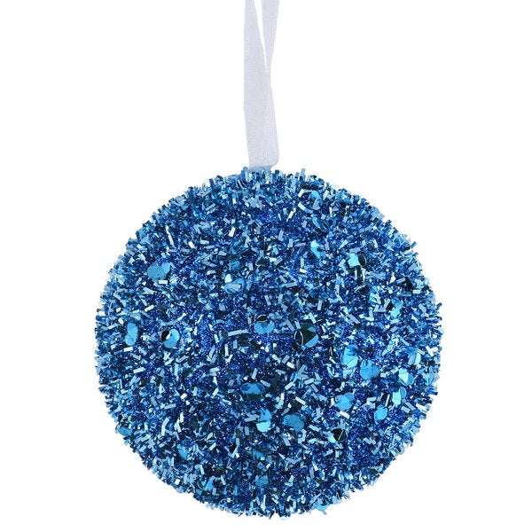 Teal Sequin Glitter 3-inch Ball Ornament (Pack of 6)