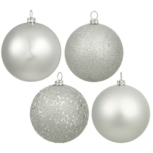 Silver Plastic 6-inch Assorted Ornaments (Pack of 4)