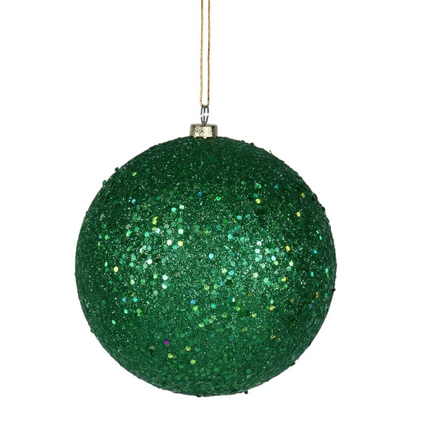 Green Plastic 6-inch Sequin Ball Ornament (Pack of 4)
