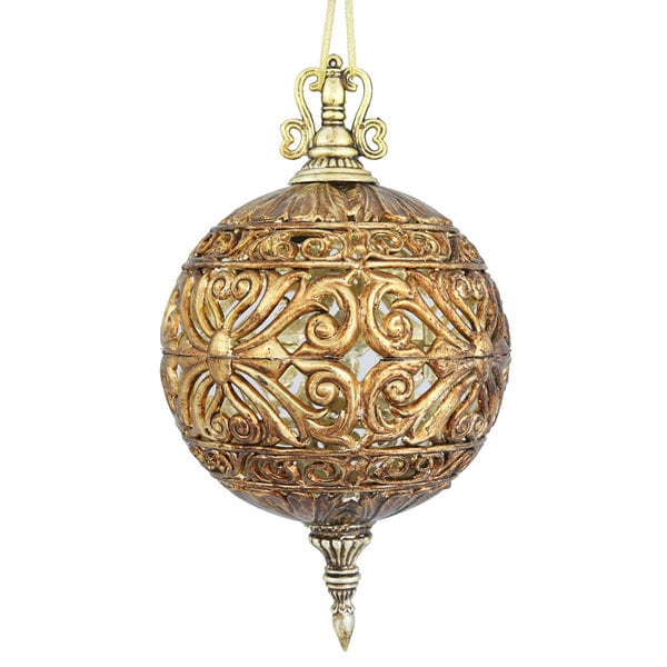 Antique Gold-colored Plastic 10-inch Sculptured Ball Ornaments (Pack of 2)