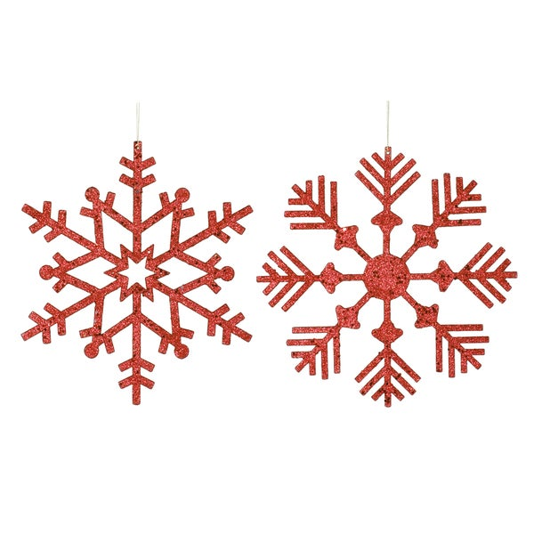 Red 12-Inch Glitter Snowflake Assorted Ornaments (Pack of 2)
