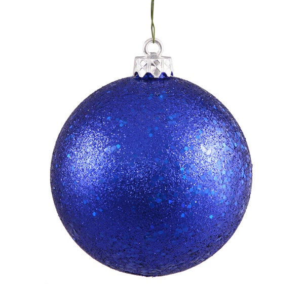 Cobalt Blue Sequin 6-inch Ball Ornaments (Pack of 4)