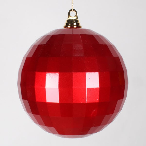 Red 8-Inch Candy Mirror Ball Ornament